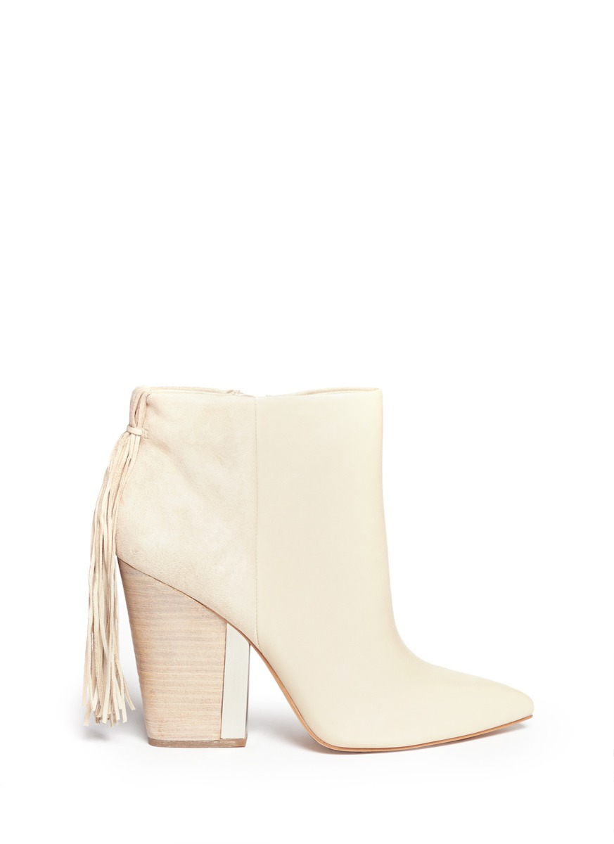 1548a6a88 Sam Edelman Mariel Leather And Suede Fringe Boots in White - Lyst