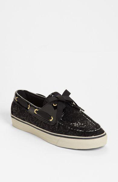 sperry top sider bahama boat shoe in black black wool