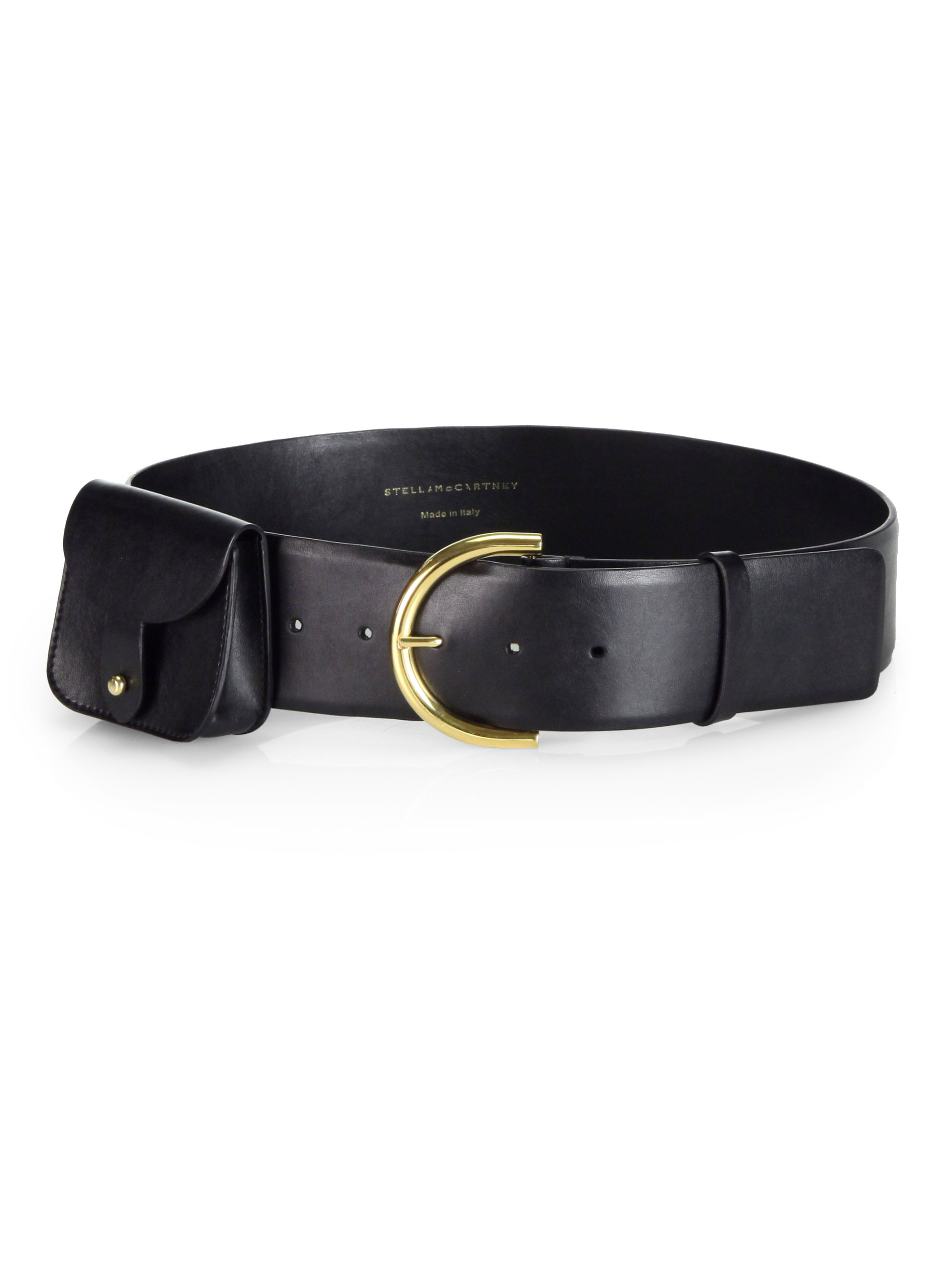 stella mccartney wide faux leather belt in black lyst