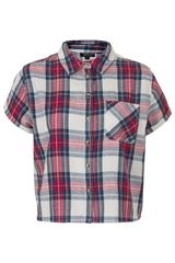 Topshop Short Sleeve Check Shirt - Lyst