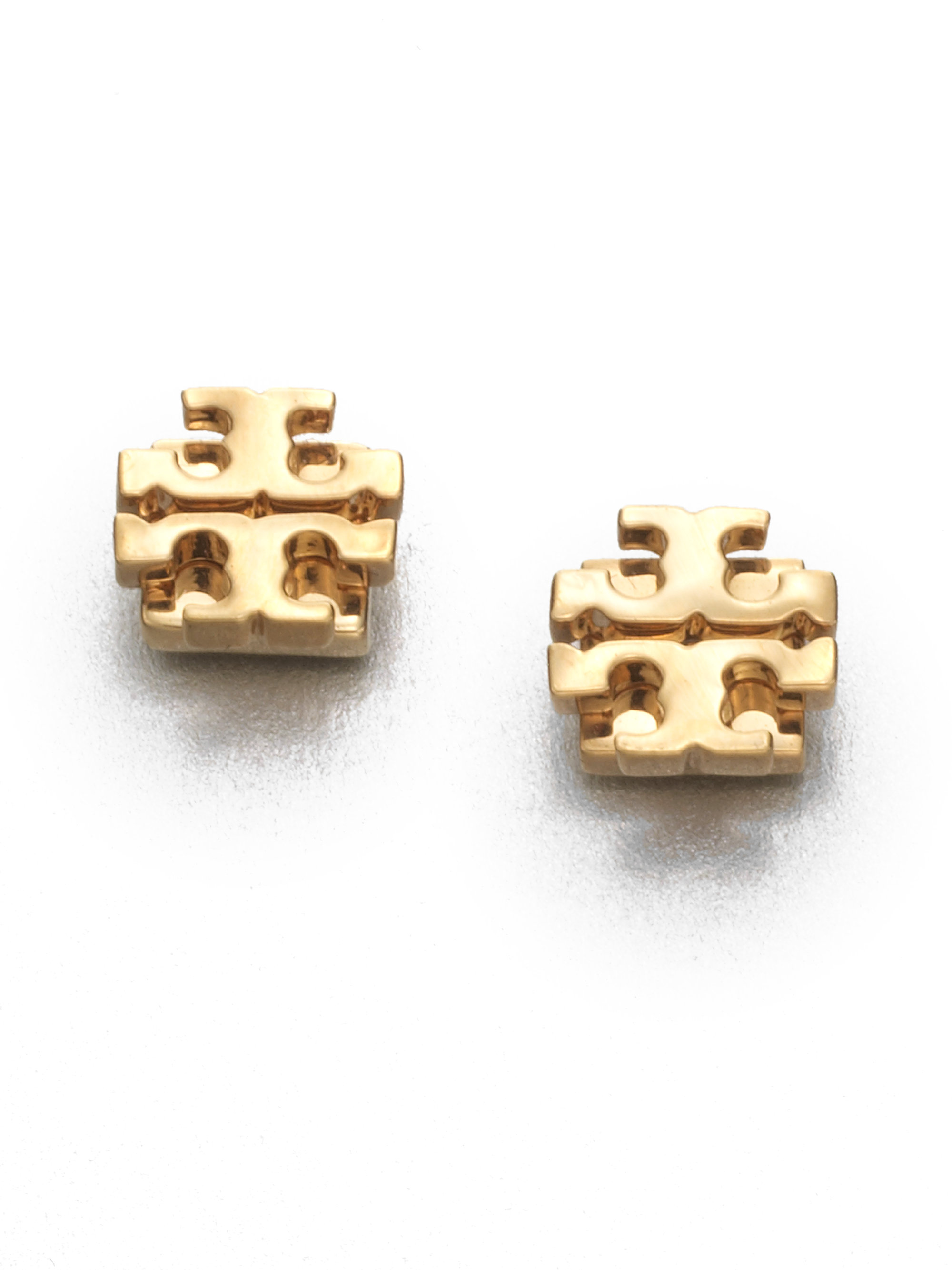 Lyst Tory Burch T Logo Small Stud Earrings Goldtone In