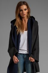 Vince Colorblock Coat in Charcoal