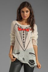 Wildfox Couture White Label Sinatra Lennon Loose Knit in Cream - Lyst