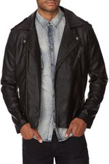 21men Faux Leather Moto Jacket - Lyst