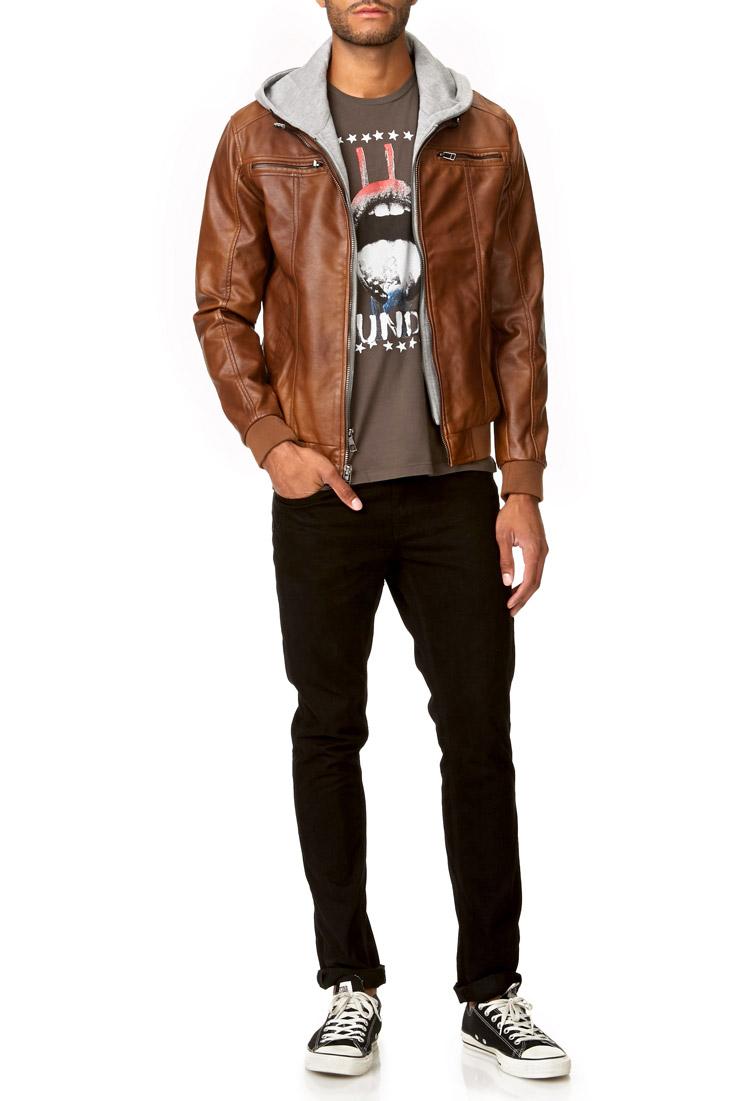 Mens Brown Hooded Leather Jacket