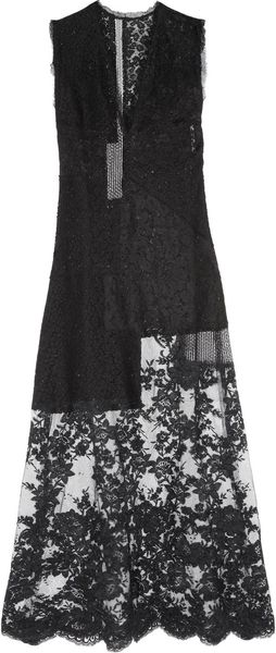 Alessandra Rich Patchwork Embroidered Tulle and Lace Dress - Lyst