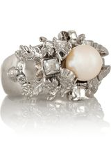 Alexander McQueen Silver Plated Swarovski Crystal and Faux Pearl Ring - Lyst