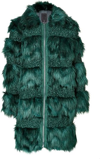 Anna Sui Faux Fur Combo Coat in Forest Green - Lyst