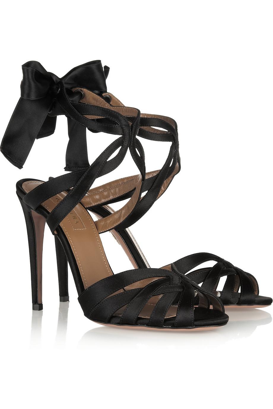 Lyst Aquazzura Charlotte Satin Sandals In Black