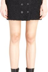 Balenciaga Boucle Knit Double Button Front Mini Skirt - Lyst