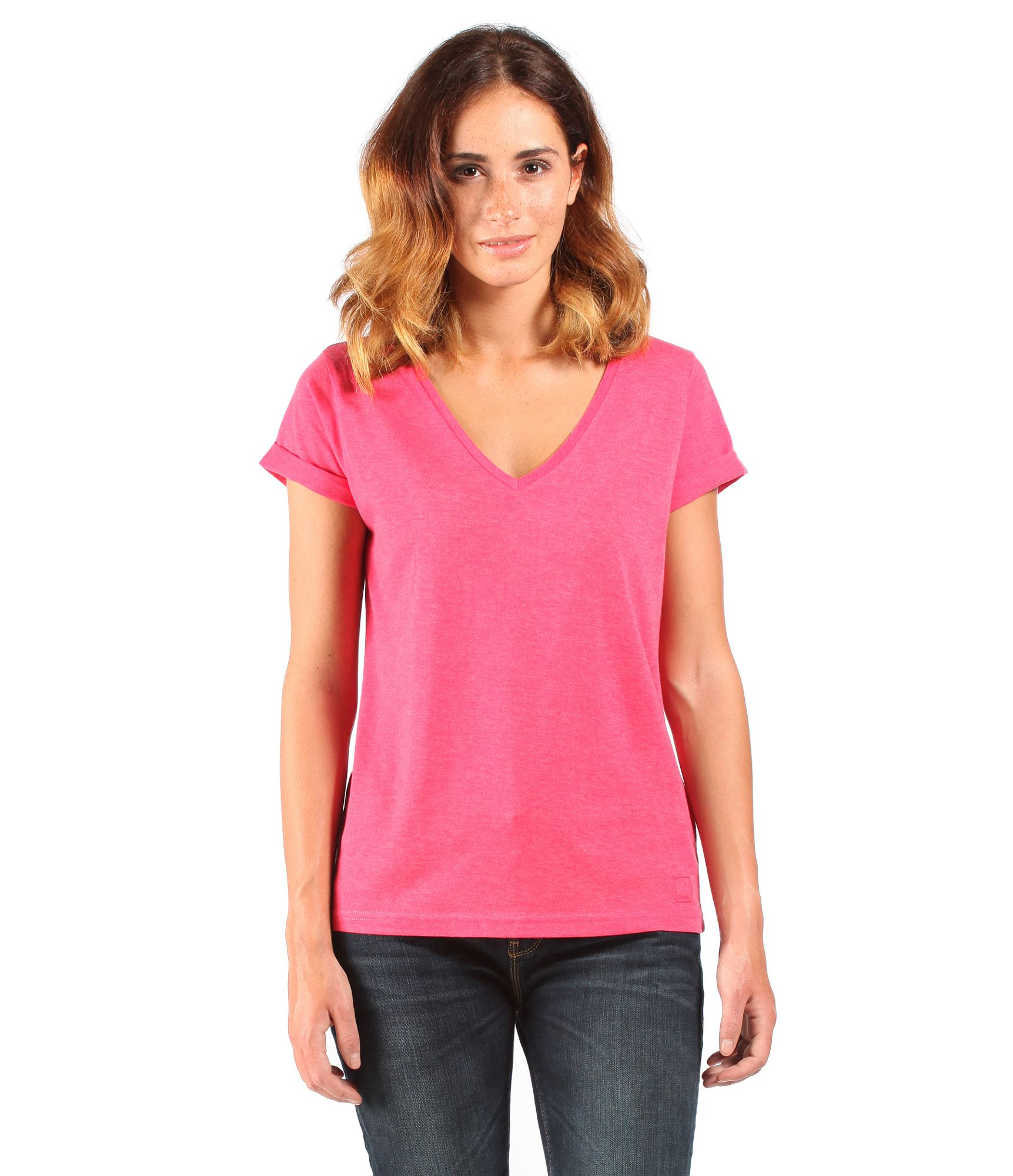 Bench womens the v tee v neck t shirt in pink lyst for Women s sunscreen shirts