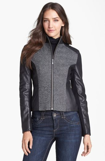 Cole Haan Leather Speckled Wool Jacket - Lyst