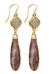 Devon Leigh Jasper Drop Rhinestonebale Earrings - Lyst
