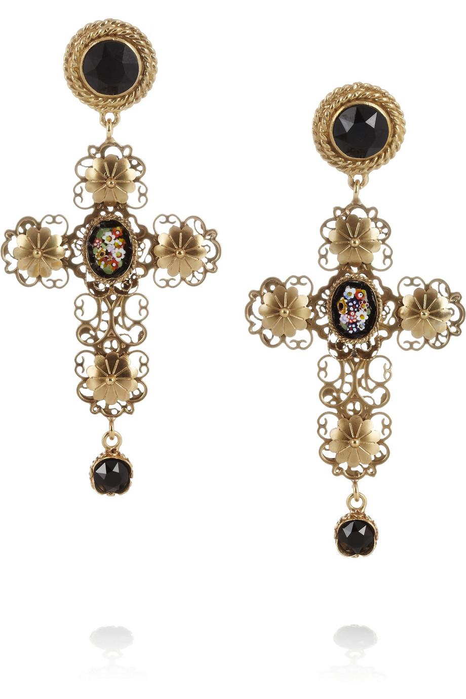 2702f45e3 Dolce & Gabbana Goldplated Swarovski Crystal Cross Clip Earrings in ...
