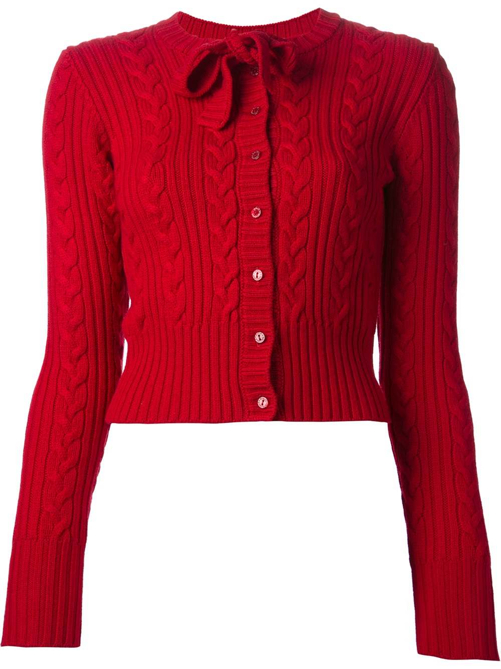Dolce & gabbana Cable Knit Cardigan in Red | Lyst
