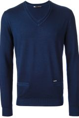 DSquared2 V-neck Sweater with Pocket - Lyst
