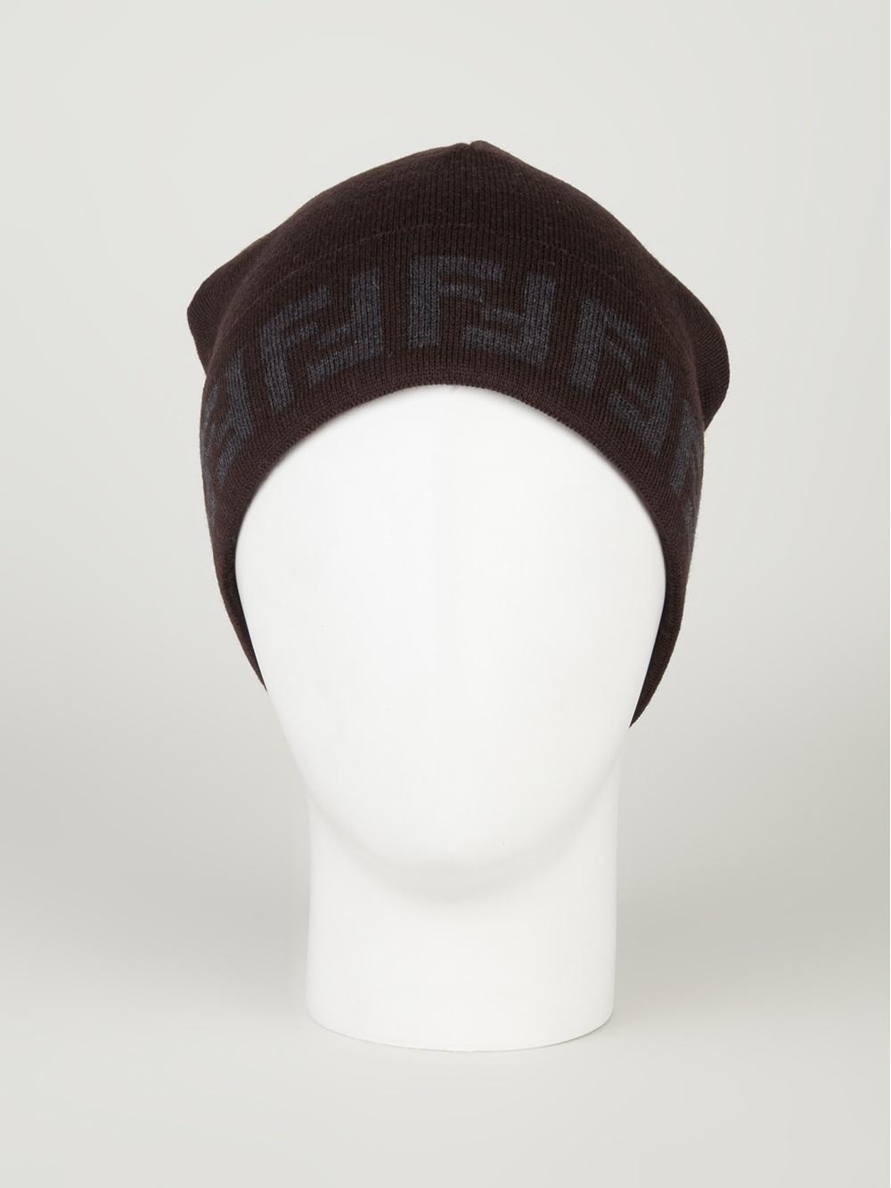 Lyst Fendi Printed Beanie Hat In Brown For Men