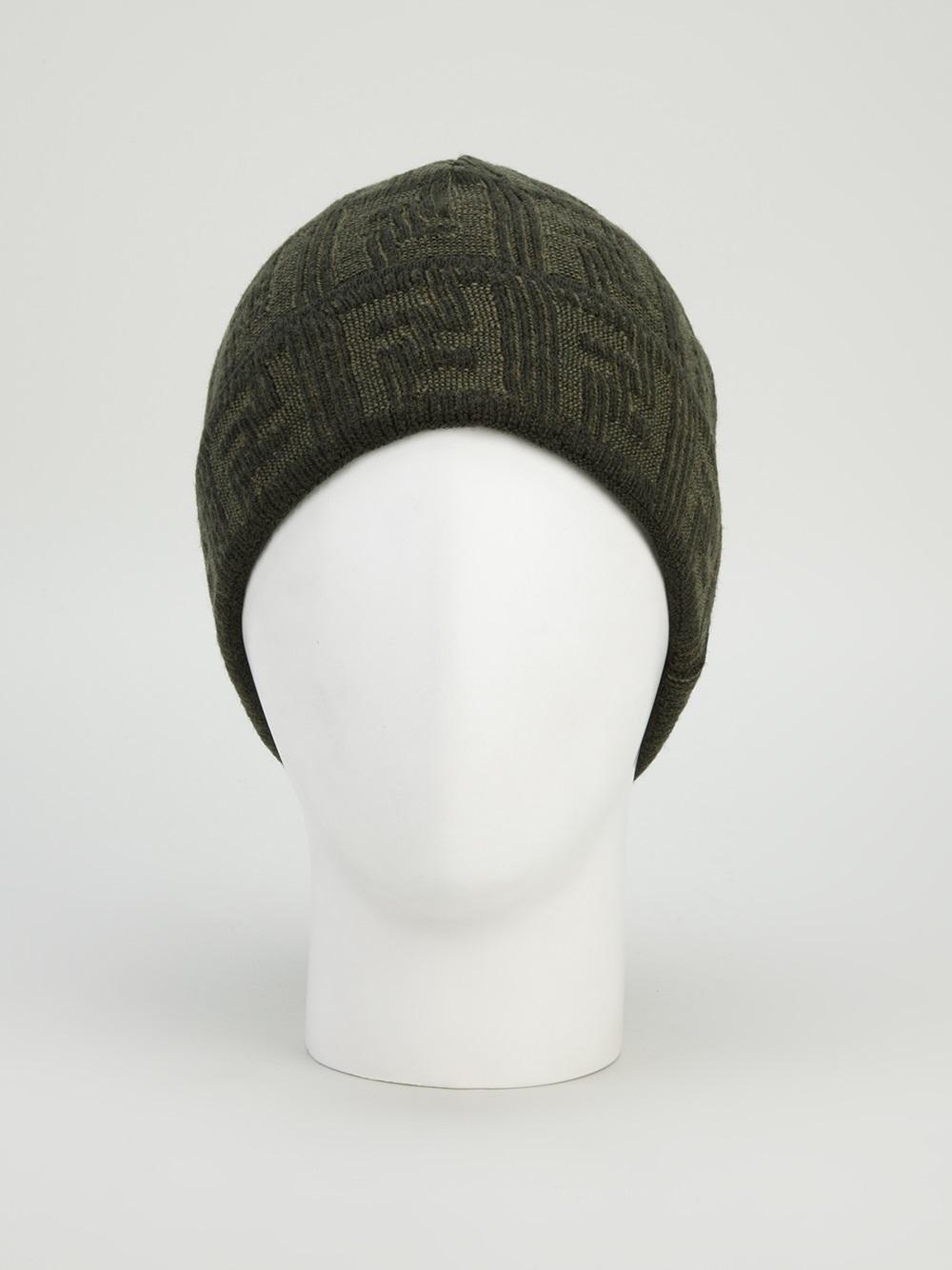 Lyst Fendi Wool Beanie Hat In Green