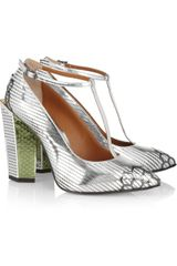 Fendi Metallic Leather T-bar Sandals - Lyst