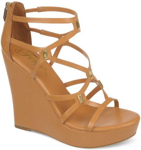 fergie venecia platform wedge sandals in brown camel lyst