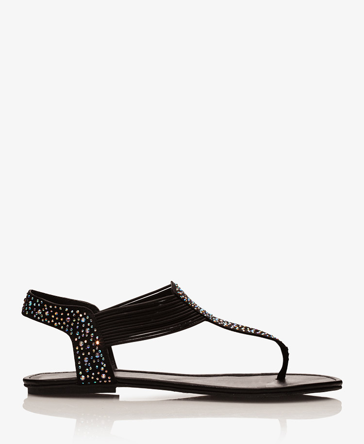 0b627d001 Lyst - Forever 21 Iridescent Rhinestone accented Thong Sandals in Black