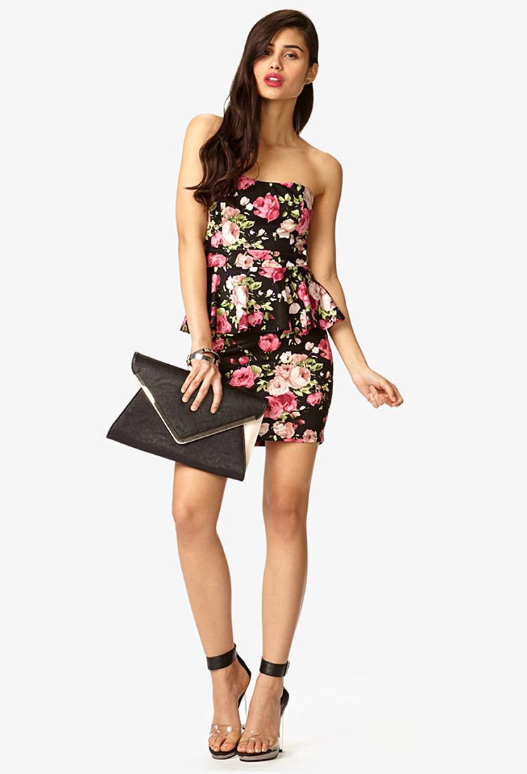 Lyst Forever 21 Strapless Rose Print Peplum Dress In Black