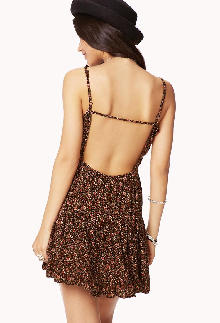 3caddca3b4d1 Lyst - Forever 21 Rosebud Summer Dress in Brown