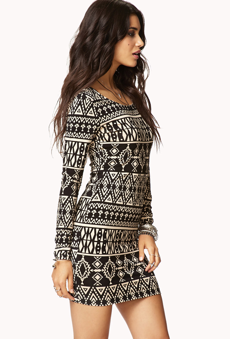 Forever 21 Tribal Print Bodycon Dress In Brown  Lyst-5866