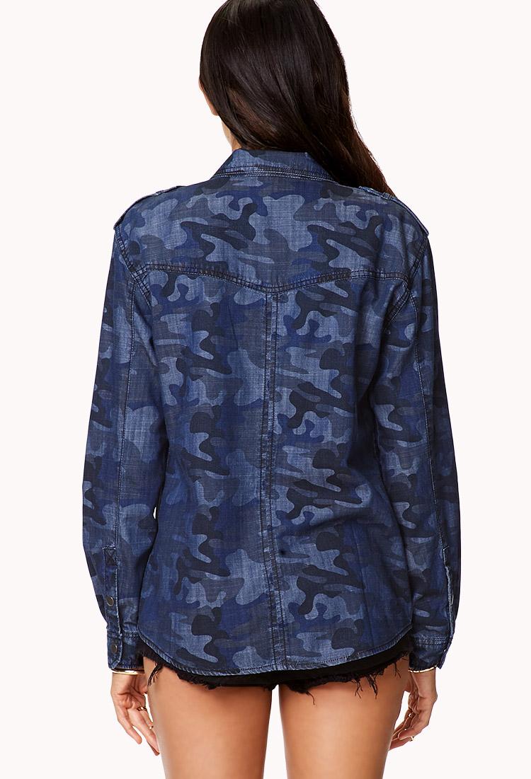 Forever 21 Prettytough Camo Shirt In Blue Lyst