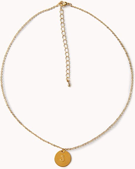 forever 21 j initial pendant necklace in gold lyst
