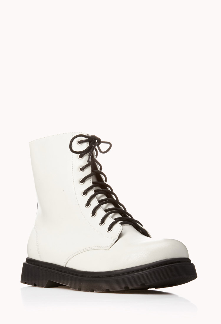 Forever 21 Sleek Combat Boots in White | Lyst