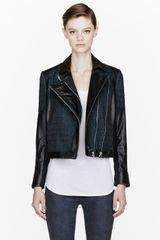Helmut Lang  Cross hatched Leather Biker Jacket - Lyst