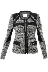 Iro Izzy Leather Trim Tweed Jacket - Lyst