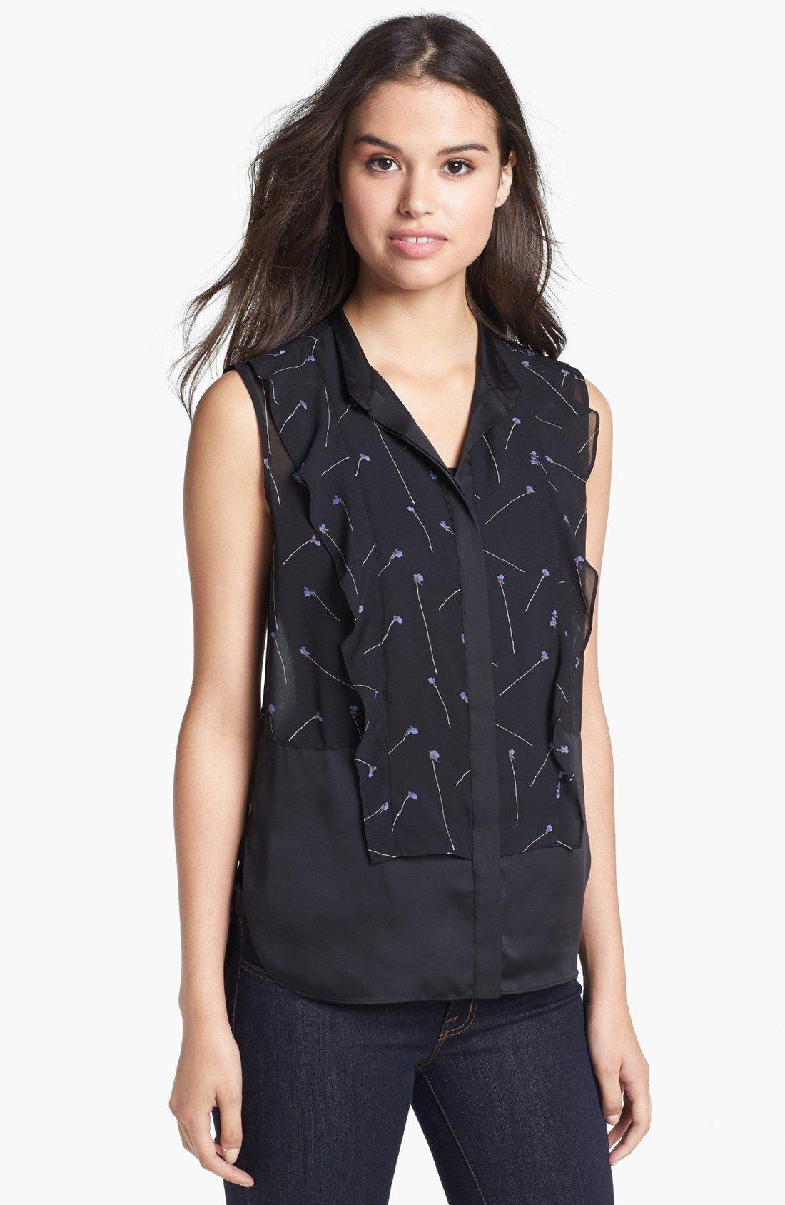 Tailored Shirt - Black Oxford Womens Ruffle Shirt by