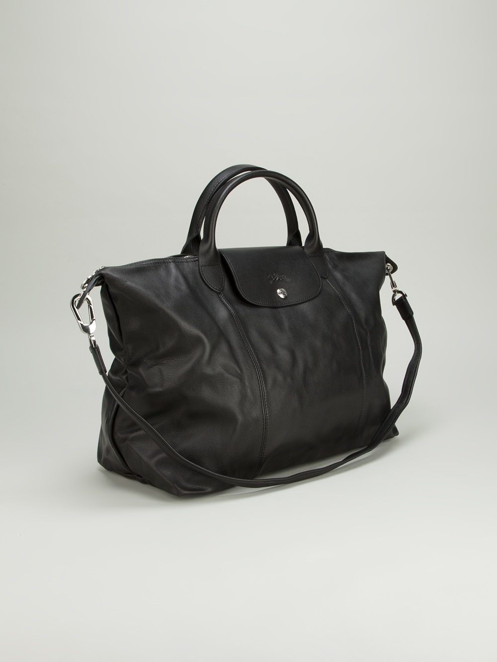 Longchamp Le Pliage Cuir Tote in Black - Lyst 293105a058