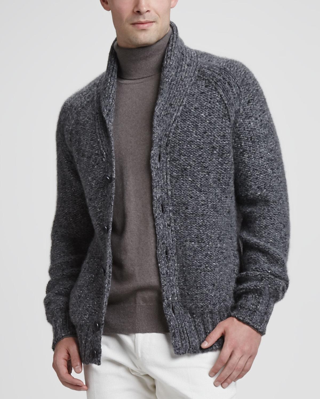 Loro piana Tweed Shawlcollar Cardigan Dark Gray in Gray for Men | Lyst