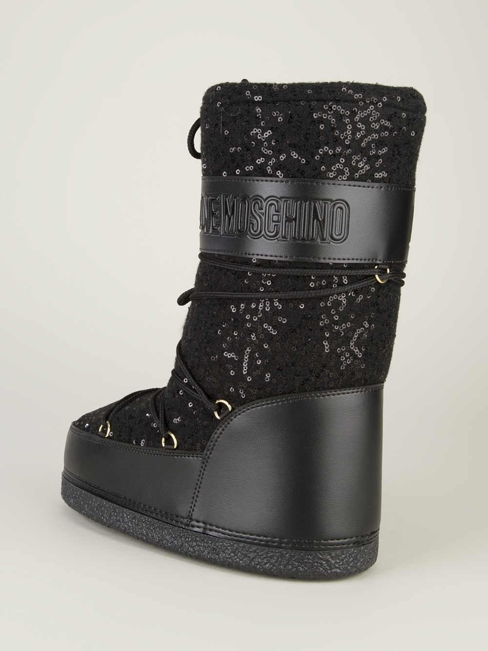 Lyst Love Moschino Sequined Moon Boot In Black