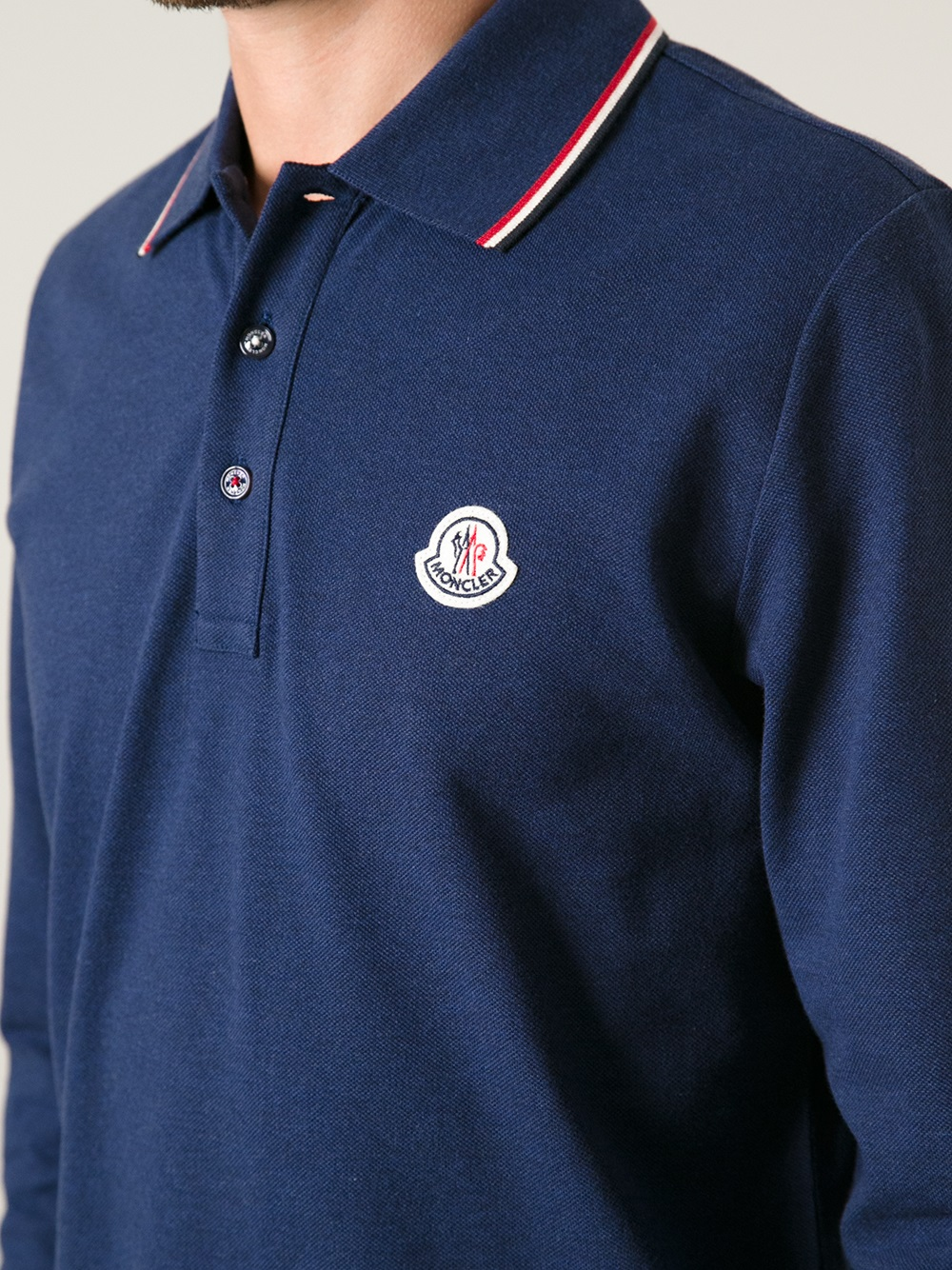 moncler long sleeve polo shirt in blue for men lyst. Black Bedroom Furniture Sets. Home Design Ideas
