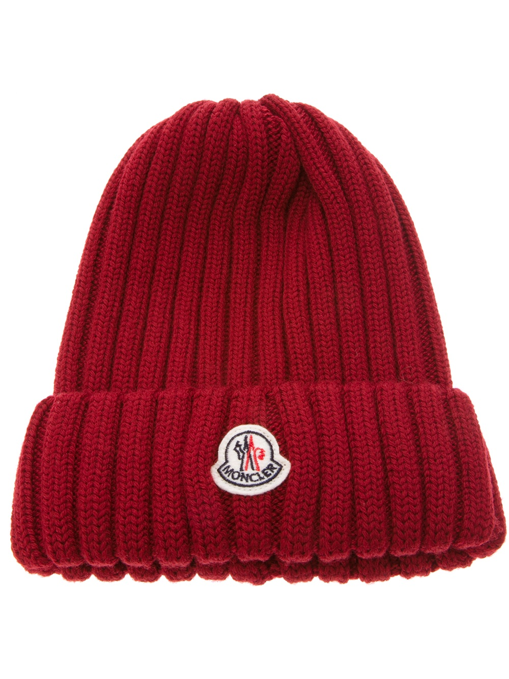 cccde820dac Lyst - Moncler Wool Ribbed Knit Beanie in Red for Men