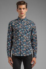 Naked & Famous Regular Shirt Tropical Gauze in Navy - Lyst