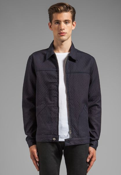 Naked Amp Famous Zip Jacket Quilted Double Face Denim In