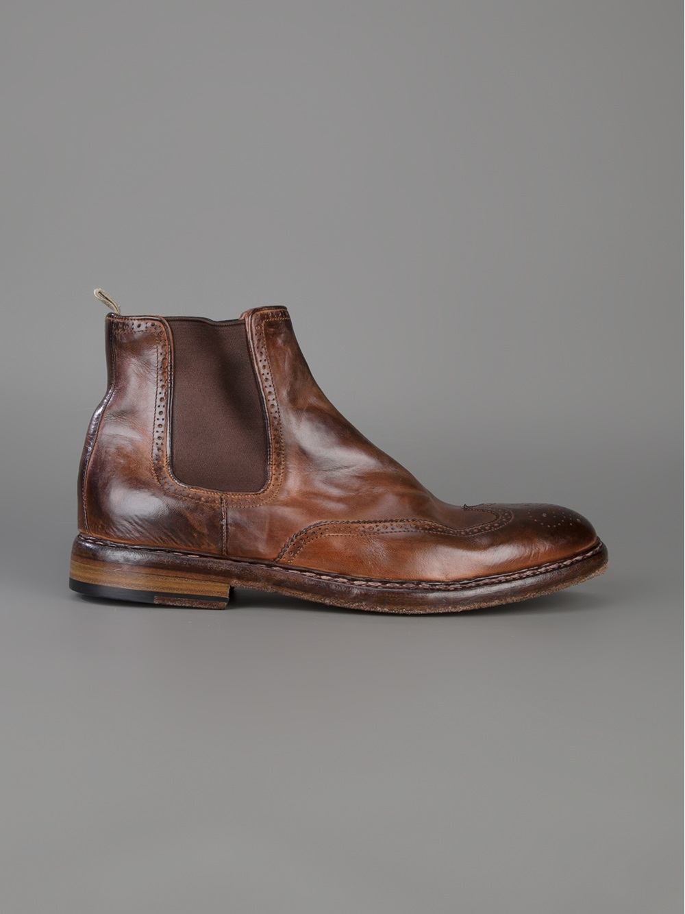 Officine Creative Brogue Chelsea Boots In Brown For Men Lyst
