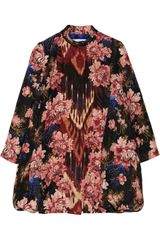Oscar de la Renta Silk and Wool Blend Jacquard Coat - Lyst