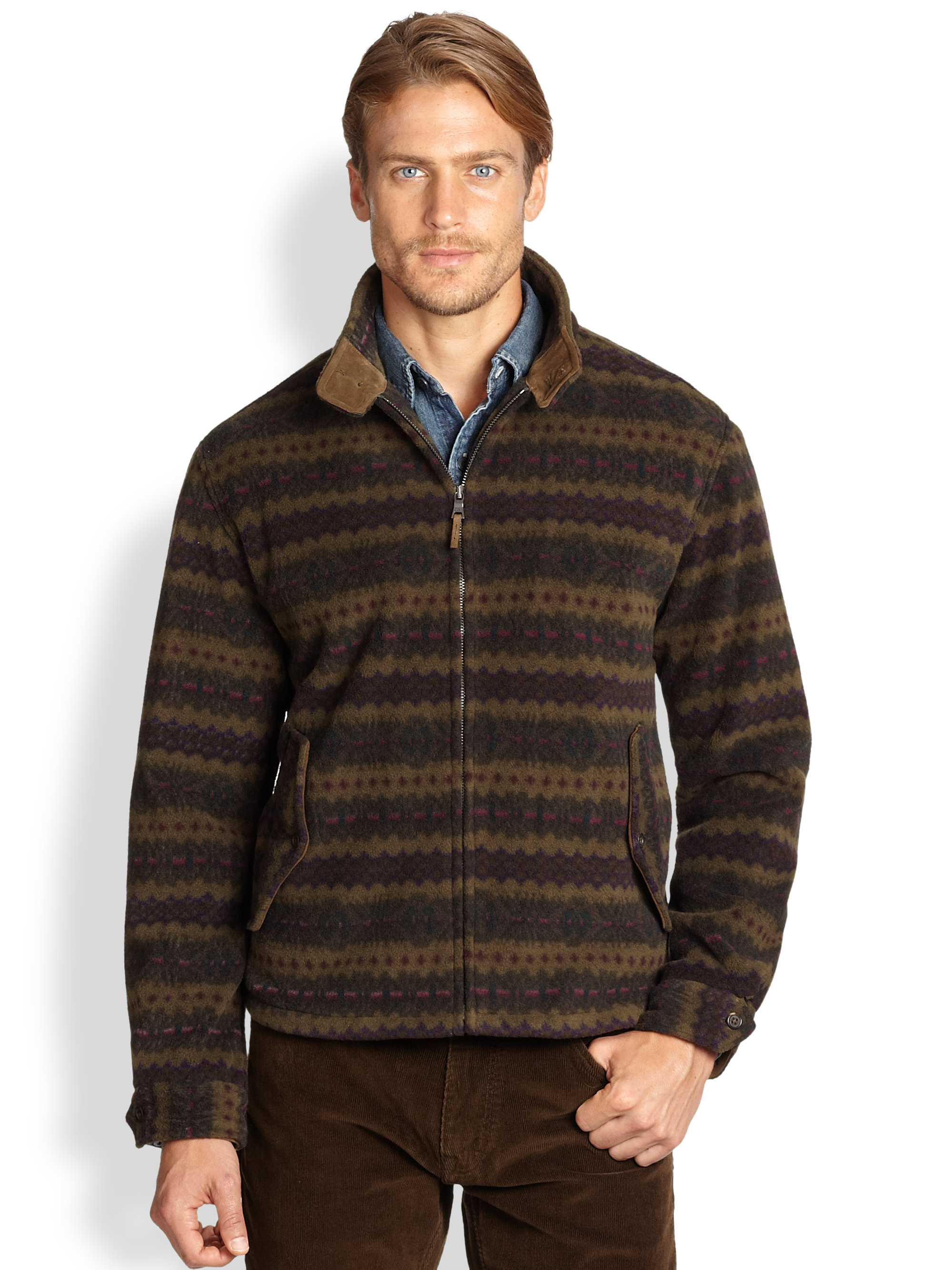 Polo ralph lauren Fair Isle Fleece Jacket in Brown for Men | Lyst