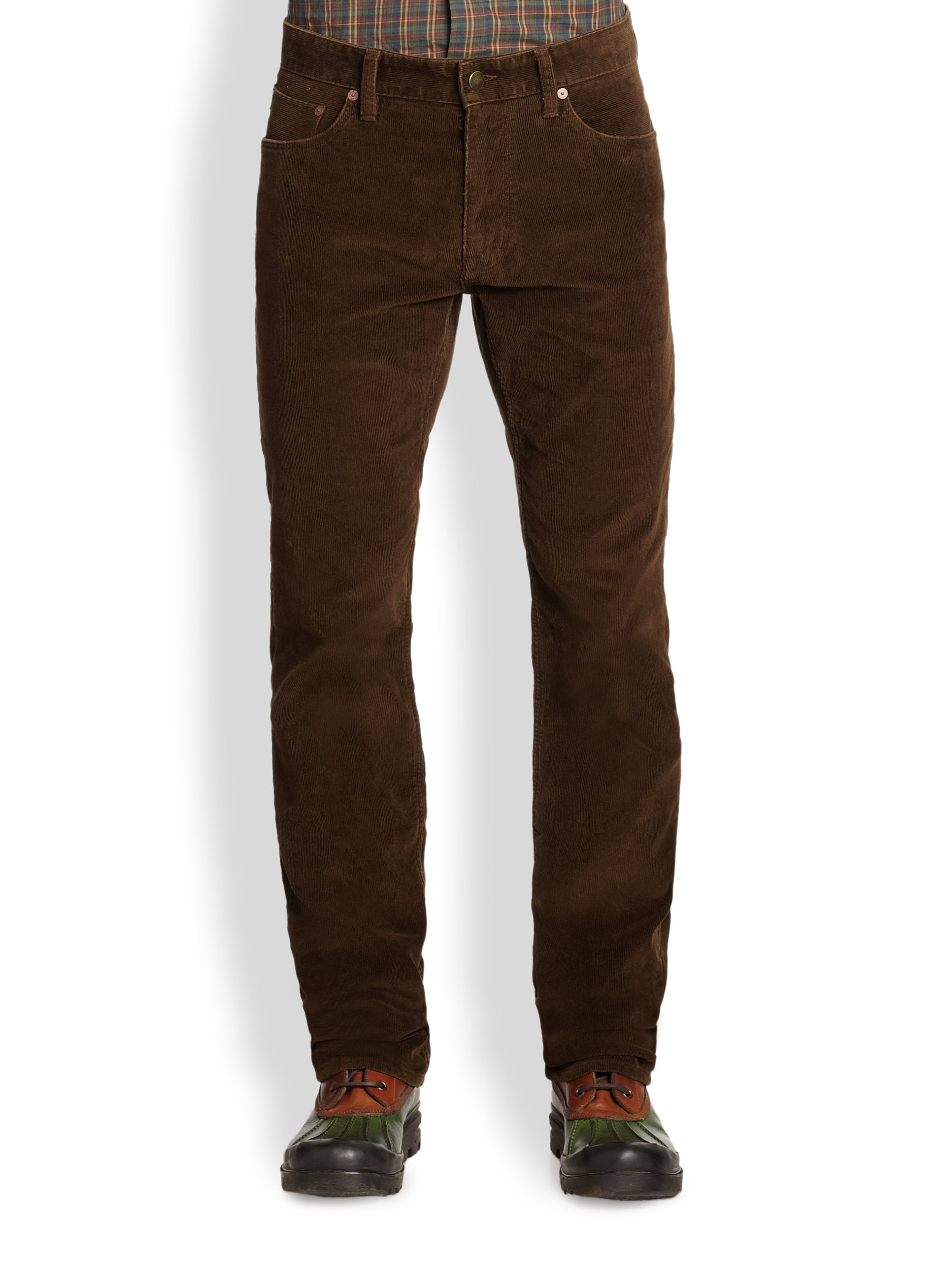 Polo ralph lauren Varick Slimfit Corduroy Pants in Brown for Men ...