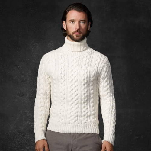 Turtleneck Sweater Mens White - English Sweater Vest
