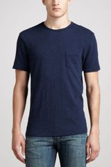 Rag & Bone Slubknit Pocket Tee Navy - Lyst