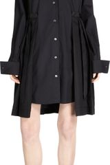 Sacai Pleated Skirt Tux Shirt Dress - Lyst