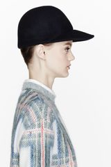 Stella McCartney Navy Felted Wool Fitted Cap - Lyst