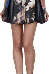 Thakoon Leather Inset Pleated Mini Skirt - Lyst